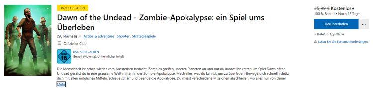 PC-Game Dawn of the Undead - Zombie-Apokalypse